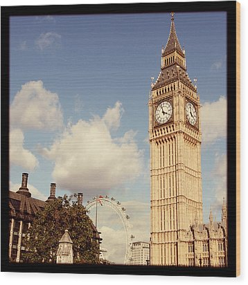 Retro Big Ben Wood Print by Heidi Hermes