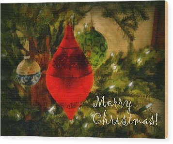 Retro Christmas Wood Print by Michelle Calkins