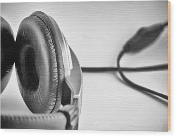 Retro Headphones Wood Print