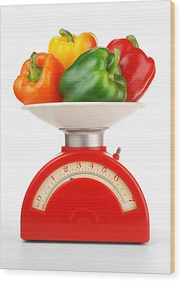 Retro Kitchen Scale Wood Print by Jim Hughes