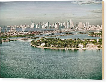 Wood Print featuring the photograph Retro Style Miami Skyline And Biscayne Bay by Gary Dean Mercer Clark