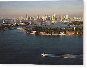 Wood Print featuring the photograph Retro Style Miami Skyline Sunrise And Biscayne Bay by Gary Dean Mercer Clark