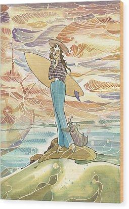 Retro Surfer Wood Print