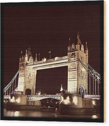 Retro Tower Bridge Wood Print by Heidi Hermes