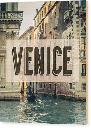 Retro Venice Grand Canal Poster Wood Print by Mr Doomits