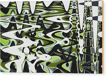 Retro Waves Abstract - Lime Green Wood Print by Natalie Kinnear