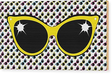 Retro Yellow Cat Sunglasses Wood Print