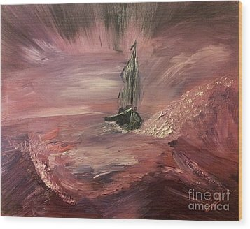 Return To Shores In Deep Red Wood Print
