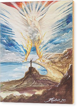 Revelation 10 Angel Wood Print by Ron Cantrell