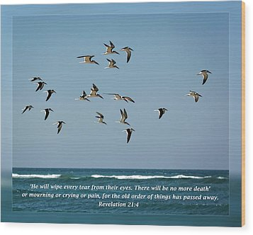 Revelation 21 4 Wood Print by Dawn Currie