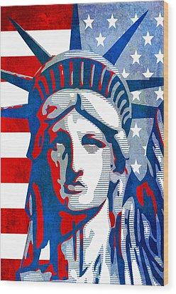 Reversing Liberty 3 Wood Print by Angelina Vick