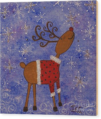 Rex The Reindeer Wood Print by Jane Chesnut