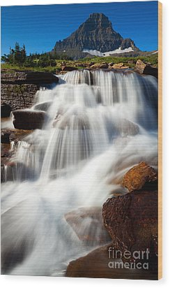 Wood Print featuring the photograph Reynolds Peak Waterfall by Aaron Whittemore