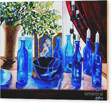 Rhapsody In Blue Wood Print by Caroline Street