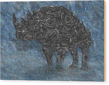 Rhino 5 Wood Print by Jack Zulli