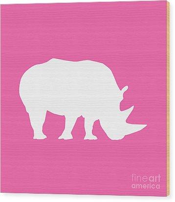 Rhino In Pink And White Wood Print