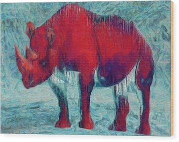 Rhino Wood Print by Jack Zulli