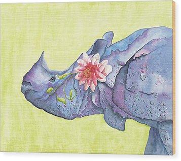 Rhino Whimsy Wood Print by Mary Ann Bobko
