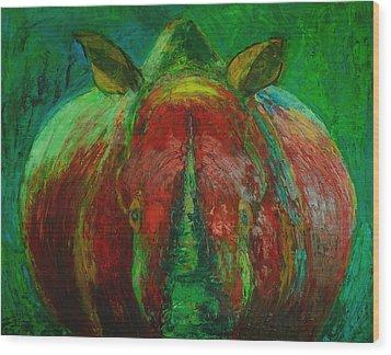 Rhinocerus Wood Print by Magdalena Walulik