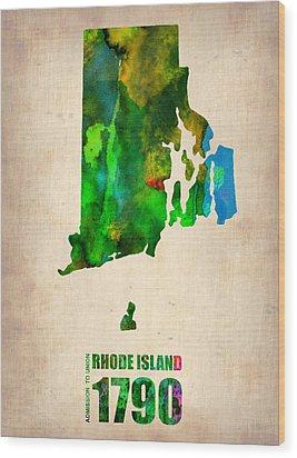 Rhode Island Watercolor Map Wood Print by Naxart Studio