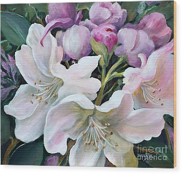 Wood Print featuring the painting Rhododendron by Marta Styk