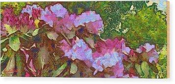 Wood Print featuring the digital art Rhododendron Splash by Spyder Webb
