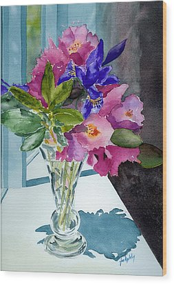 Rhododendrons And Iris Wood Print