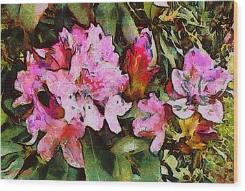 Wood Print featuring the digital art Rhododendrons One by Spyder Webb
