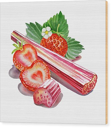 Wood Print featuring the painting Rhubarb Strawberry by Irina Sztukowski