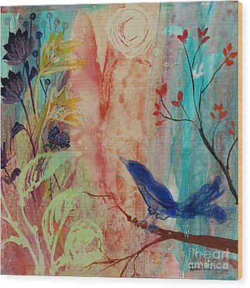 Wood Print featuring the painting Rhythm And Blues by Robin Maria Pedrero