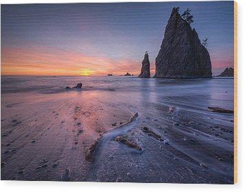 Wood Print featuring the photograph Rialto Beach Sunset by Dan Mihai