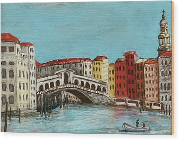 Rialto Bridge Wood Print by Anastasiya Malakhova