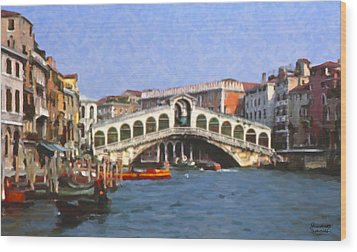 Rialto Bridge Venice Wood Print