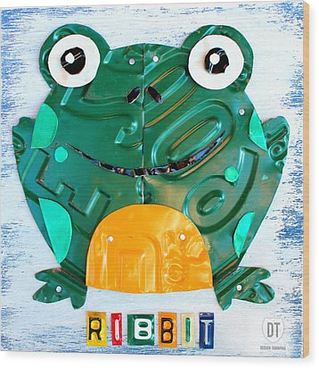Ribbit The Frog License Plate Art Wood Print by Design Turnpike