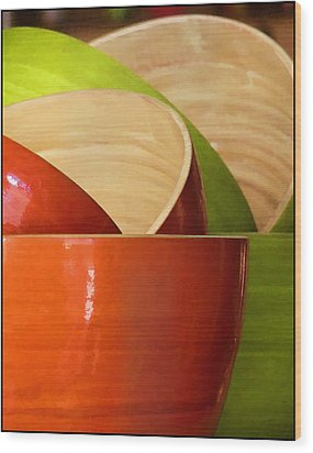 Wood Print featuring the photograph Rice Bowl Stack by Kim Andelkovic