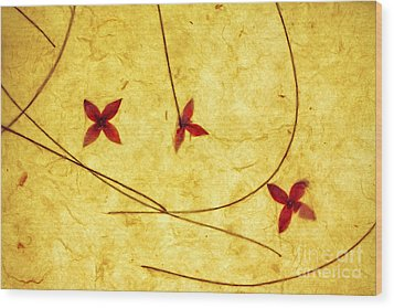 Rice Paper Wildflower Yellow Wood Print by Charline Xia