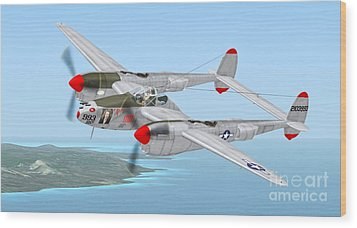 Richard Bong's P-38 Lightning Marge Wood Print by Walter Colvin