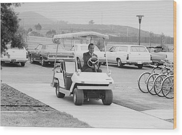 Richard Nixon Driving A Golf Cart Wood Print by Everett