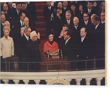 Richard Nixon Taking The Oath Of Office Wood Print by Everett