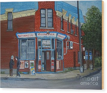 Richardson Depanneur Pointe St. Charles Wood Print by Reb Frost