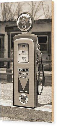 Richfield Ethyl - Gas Pump - Sepia Wood Print by Mike McGlothlen