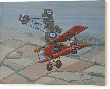 Richtofen And Hawker Combat Wood Print by Murray McLeod