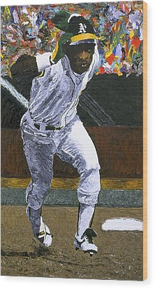 Rickey Henderson Wood Print by Mike Rabe