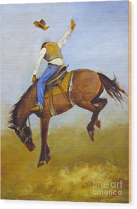 Wood Print featuring the painting Ride 'em Cowboy by Carol Hart
