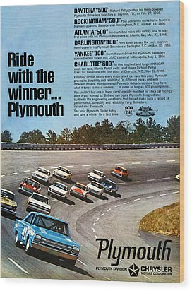 Ride With The Winner... Plymouth Wood Print by Digital Repro Depot