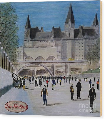 Rideau Canal Winterlude Wood Print by John Lyes