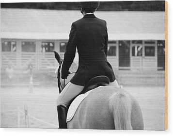 Wood Print featuring the photograph Rider In Black And White by Jennifer Ancker