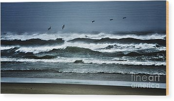 Riders On The Storm 1 - Outer Banks Wood Print by Dan Carmichael