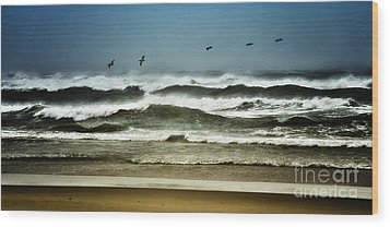 Riders On The Storm II - Outer Banks Wood Print by Dan Carmichael