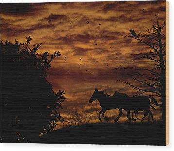 Riding Into The Night Wood Print by Diane Schuster
